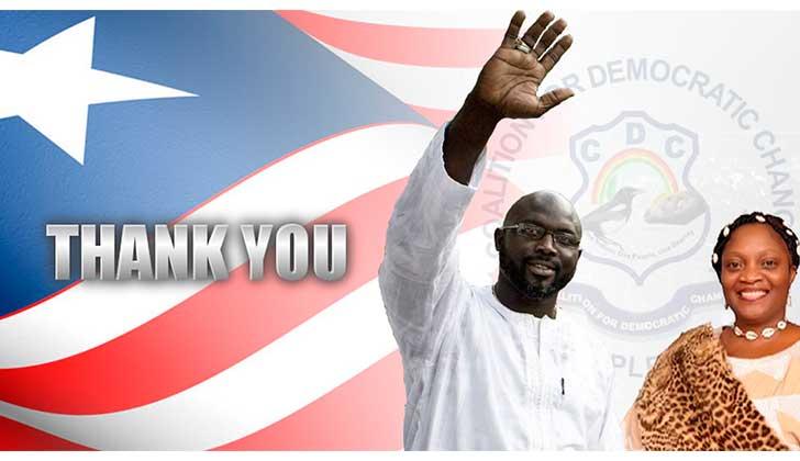 """El exfutbolista George Weah electo presidente de Liberia:  """"mejorar la vida de los liberianos es una misión única"""". Foto: anuncio traspaso de mando 22 de enero."""
