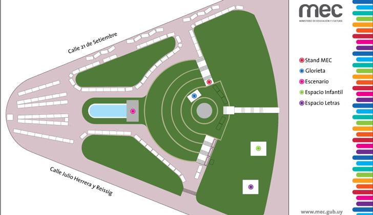 Ubicación de los stands donde estará presente el MEC.