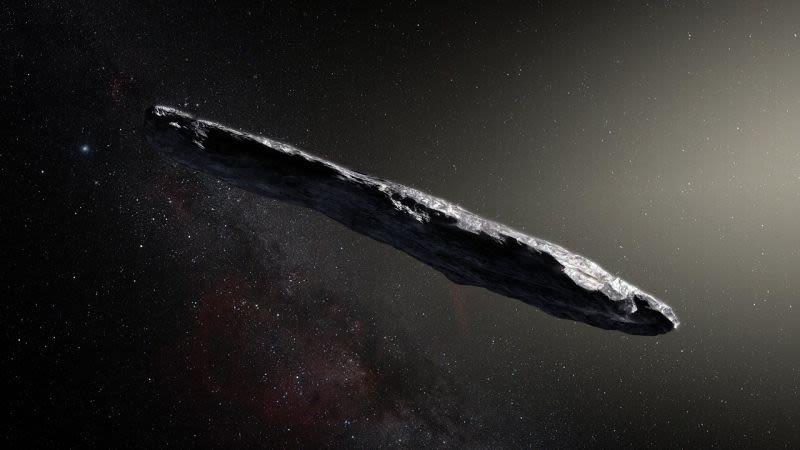 Representación artística de Oumuamua. Foto: Observatorio Europeo Austral / M. Kornmesser