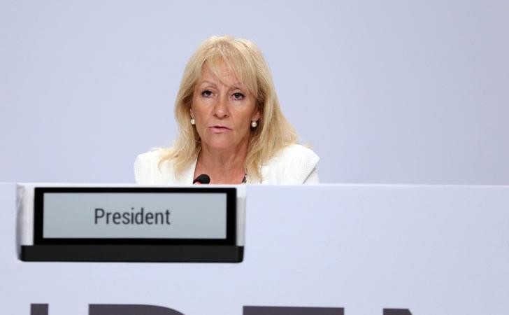 Carolina Cosse presidiendo la octaba Asamblea Internacional / Foto: Irena
