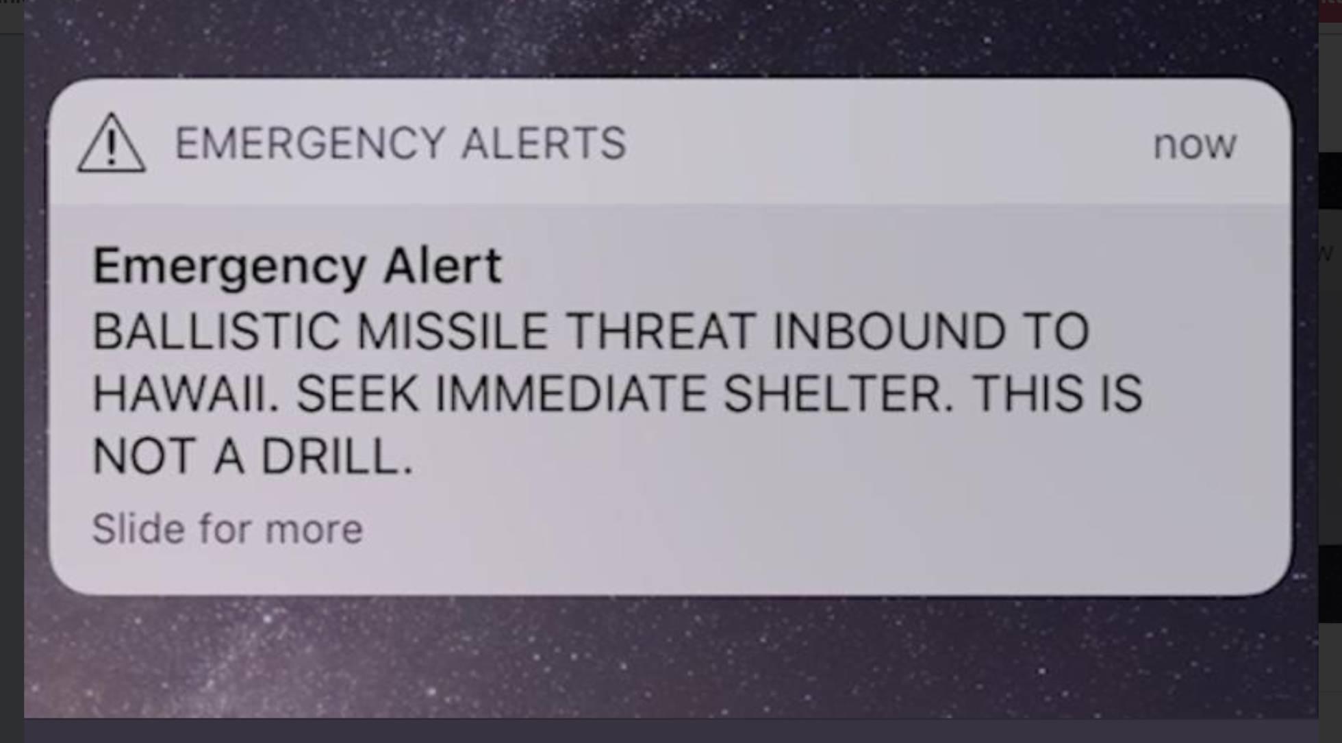 Los hawaianos recibieron este mensaje en sus teléfonos celulares