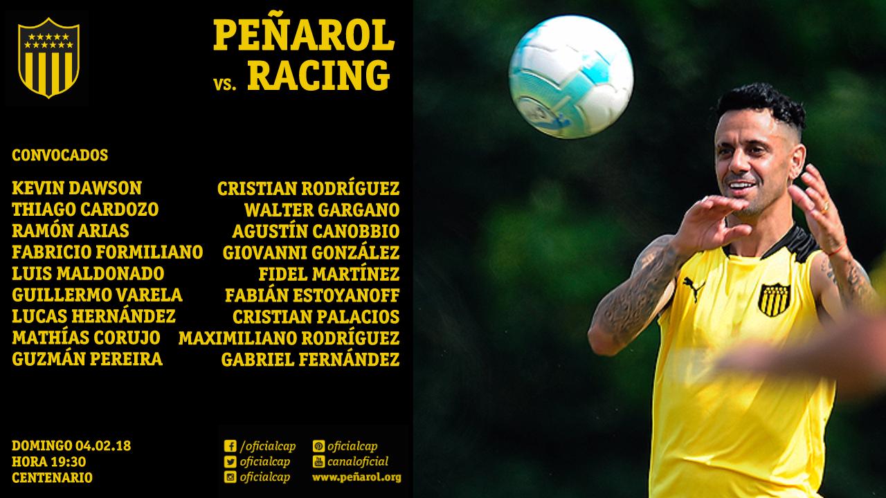 Convocados Peñarol vs Racing