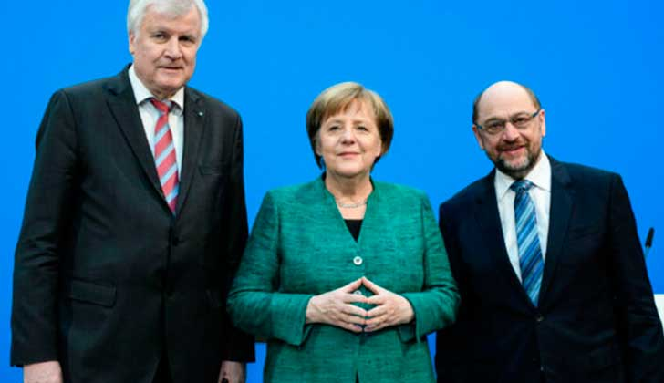 Angela Merkel alcanza un acuerdo de gobierno con los socialdemócratas. .