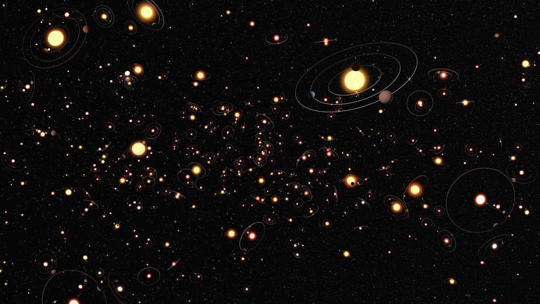Representación artística de los exoplanetas y su ubicación según se ven desde la Tierra. Foto: ESO / M. Kornmesser
