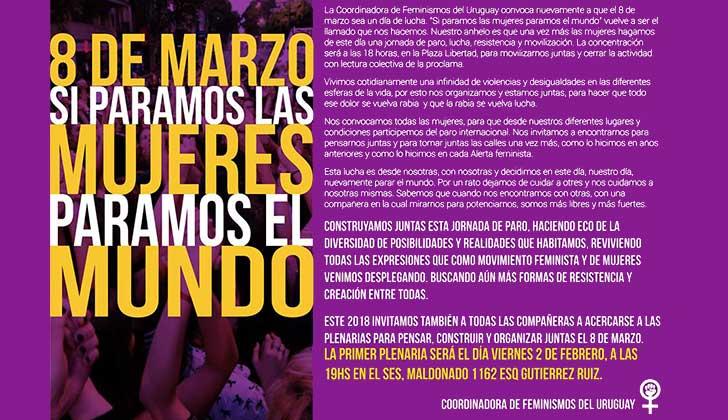 """Montevideo comenzó a """"pensar, construir y organizar"""" el Paro Internacional de Mujeres del #8M."""