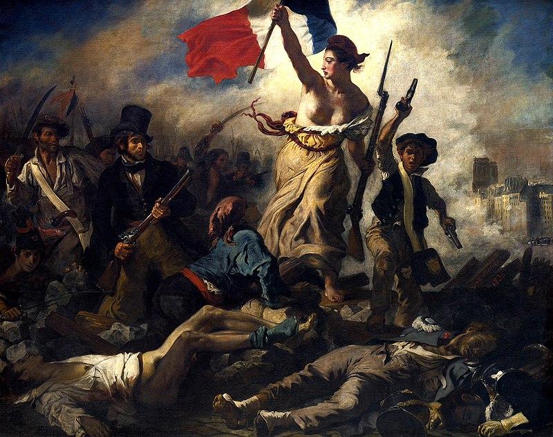 La Libertad guiando al pueblo, cuadro de Eugène Delacroix, erróneamente asociado a la Revolución de 1789, pese a que corresponde a los sucesos revolucionarios de los años 1830 (Museo del Louvre, París).