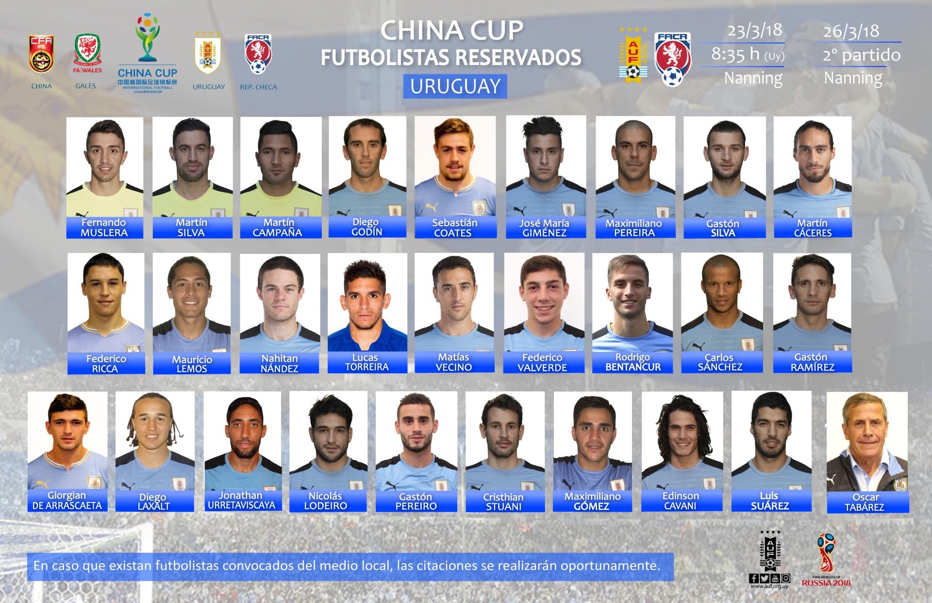 Uruguay dio su convocatoria para la China Cup