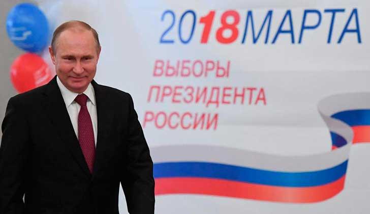 Putin logra la reelección con más del 70% de los votos. Foto: EFE