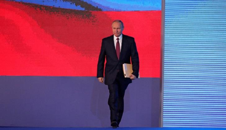 """Putin: """"Nadie tomaba a Rusia en serio hasta que el país desarrolló sistemas de armas de última generación"""". Foto: Kremlin"""