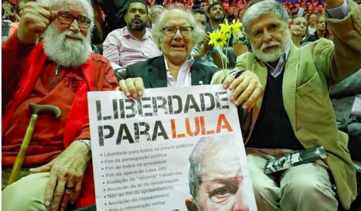 Leonardo Boff, Adolfo Pérez Esquivel e Celso Amorim em Curitiba. Foto: Ricardo Stuckert