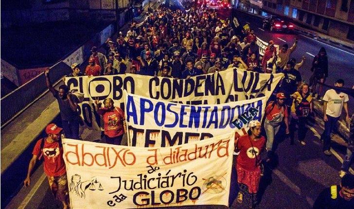 Movimientos sociales de Brasil protestan contra la Red Globo. Foto: Midia Ninja