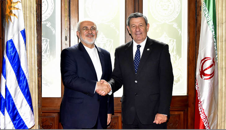 Cancilleres Mohammad Javad Zarif (Irán) y Rodolfo Nin Novoa (Uruguay).