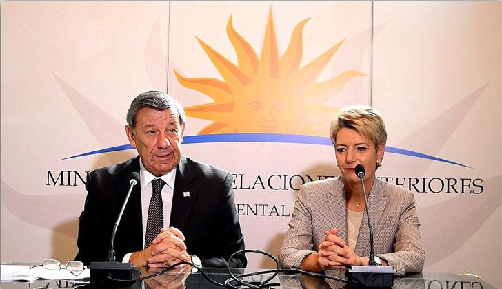 Ministro de Relaciones Exteriores, Rodolfo Nin Novoa, y  jefa del Comité de parlamentarios de la AELC, Karin Keller-Sutter. Foto: Cancillería.