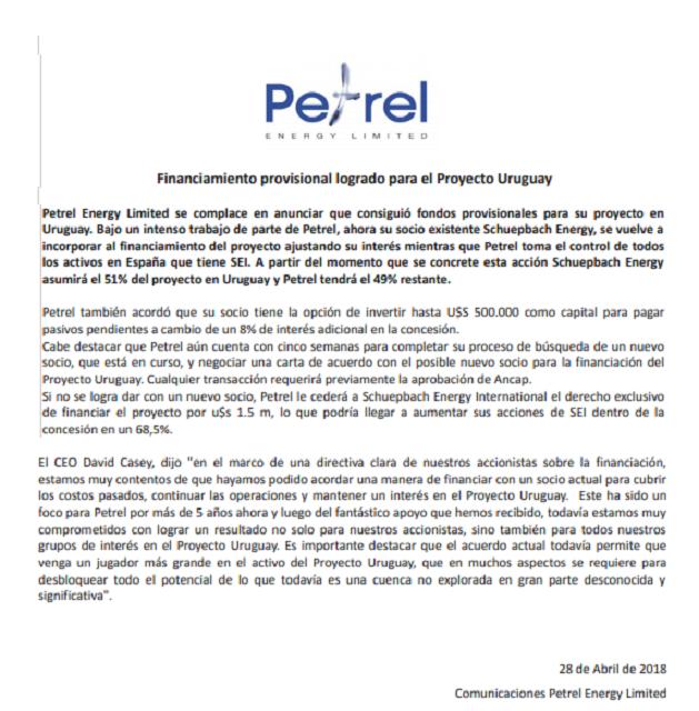 Petrel anunció acuerdo para quedarse en Uruguay