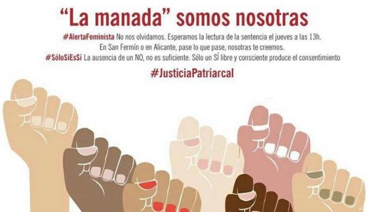 """""""La manada somos nosotras"""": España se moviliza contra la sentencia de la violación múltiple de San Fermín."""
