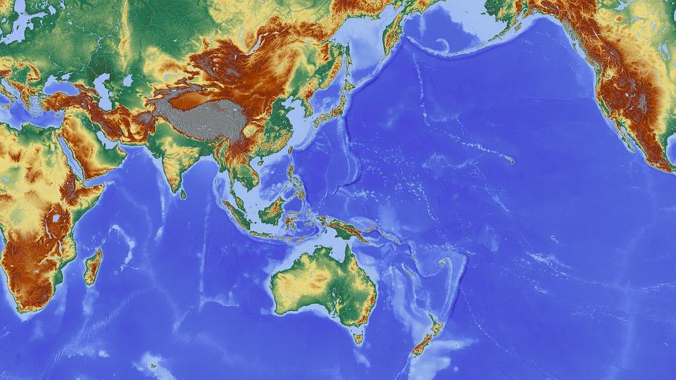 Mapa con parte de Asia Pacífico y Australia.