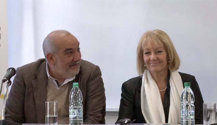 Presidente de ANEP, Wilson Netto; y ministra de Industria, Carolina Cosse.
