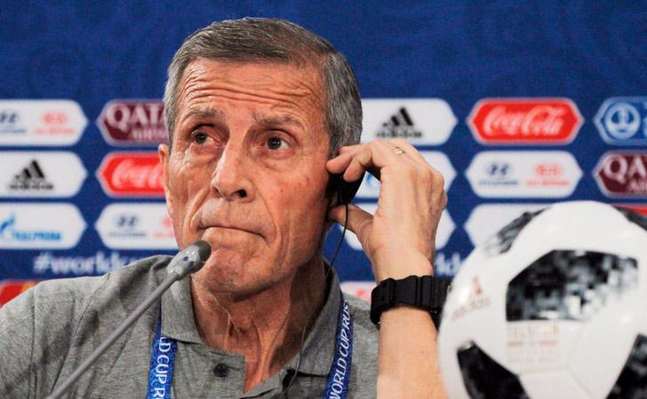 Óscar Tabárez en conferencia de prensa previo al enfrentamiento ante Arabia Saudita / Foto: AUF
