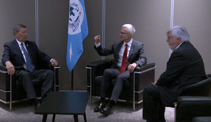 Rodolfo Nin Novoa (Relaciones Exteriores), secretario general de Interpol, Jürgen Stock y Eduardo Bonomi (Interior). Foto: Presidencia.