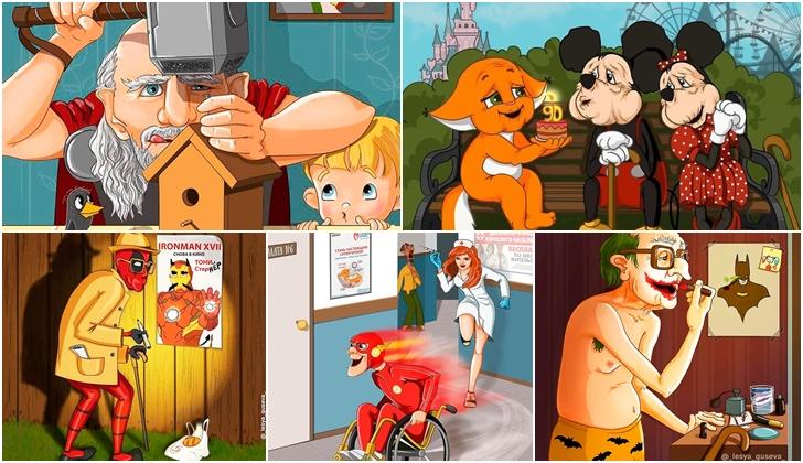 Ilustradora rusa presenta a famosos personajes en su vejez.