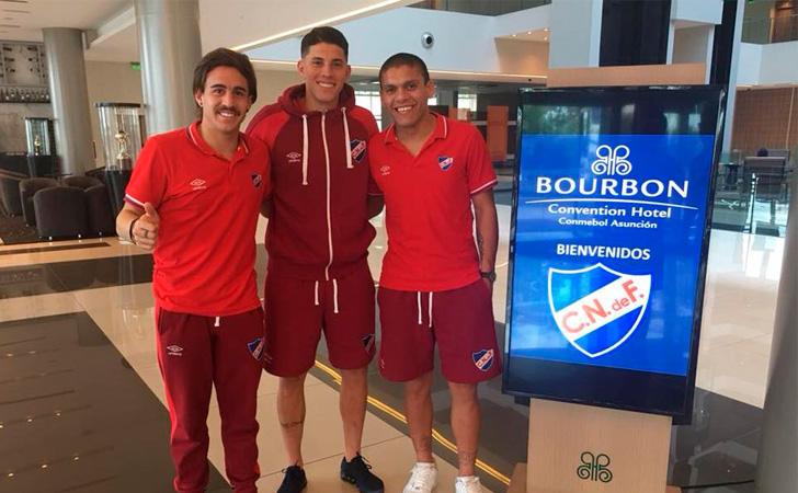 Gabriel Neves, Brian Ocampo y Maximiliano Villa en el Hotel / Foto: @Nacional