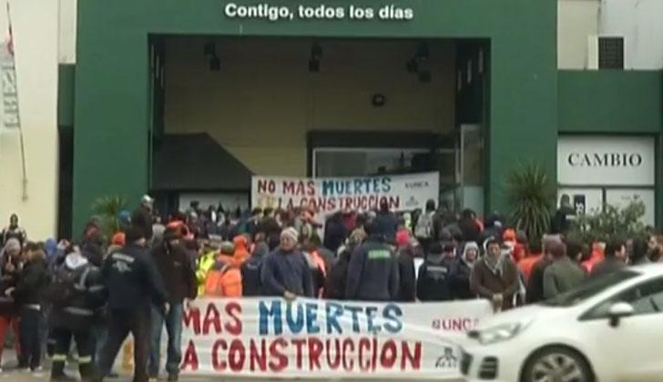 Manifestación del SUNCA en repudio a muerte de un trabajador.