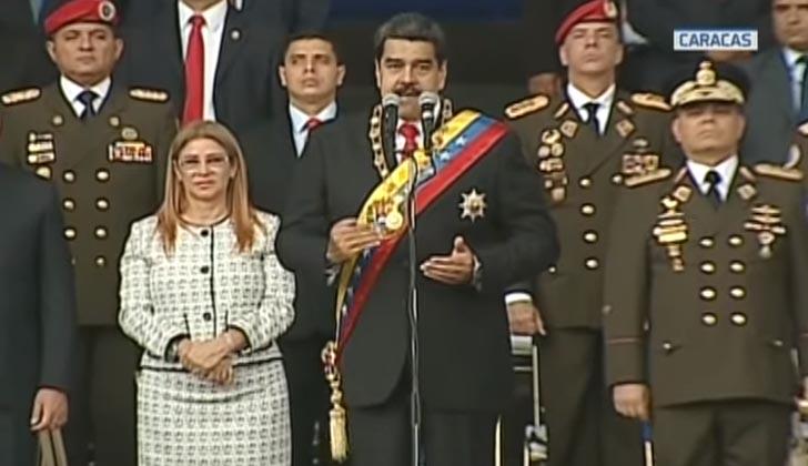 Momento previo al atentado con drones contra el presidente, Nicolás Maduro.