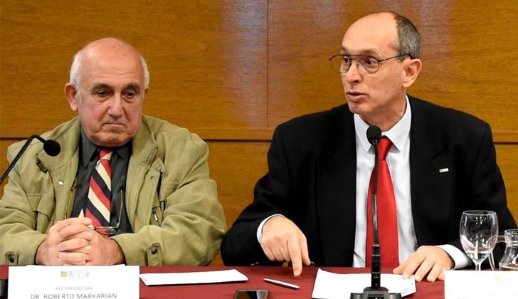 Rector de la UDELAR, Roberto Markarian, y presidente de UTE, Gonzalo Casaravilla. Foto: LARED21.