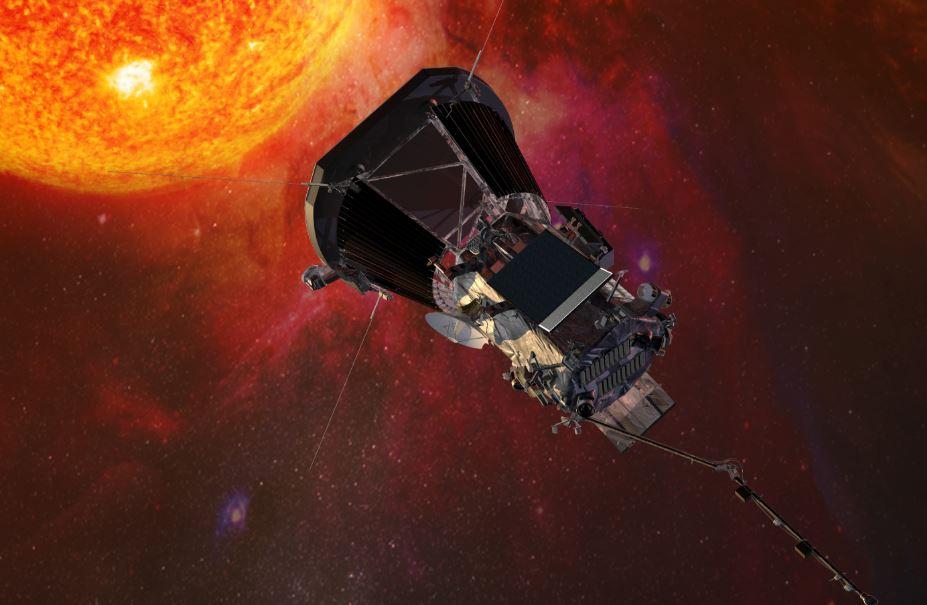 Ilustración de la sonda espacial Parker Solar Probe acercándose al sol. Créditos: Laboratorio de Física Aplicada de la Universidad Johns Hopkins