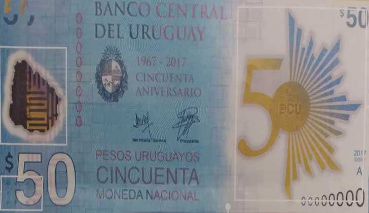 Nueva edición del billete de 50 pesos uruguayos.