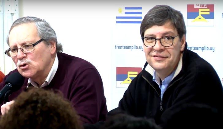 Presidente de la Comisión Nacional de Programa, Ricardo Ehrlich, junto al presidente del Frente Amplio, Javier Miranda.