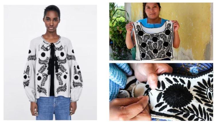 A la izquierda, la pieza comercializada por Zara. A la derecha, los bordados originales de las aborígenes de Aguacatenango.
