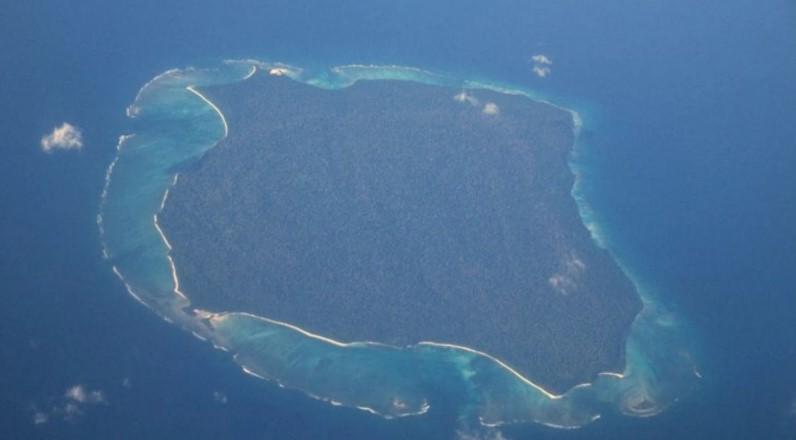 Isla Sentinel del Norte vista desde el aire. Foto: Wikimedia Commons