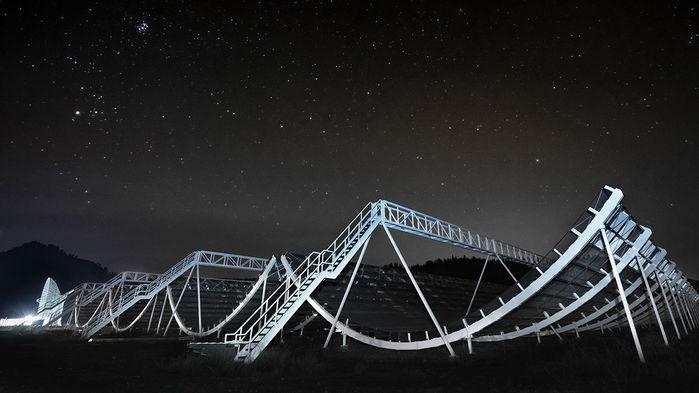 Radiotelescopio del proyecto CHIME, en Canadá. Foto: Andre Renard / CHIME