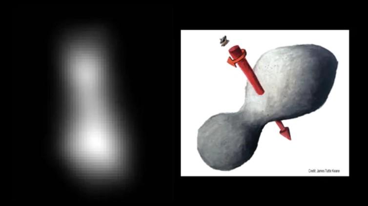 A la izquierda, la imagen enviada por New Horizons. A la derecha un modelado 3D hecho por la NASA