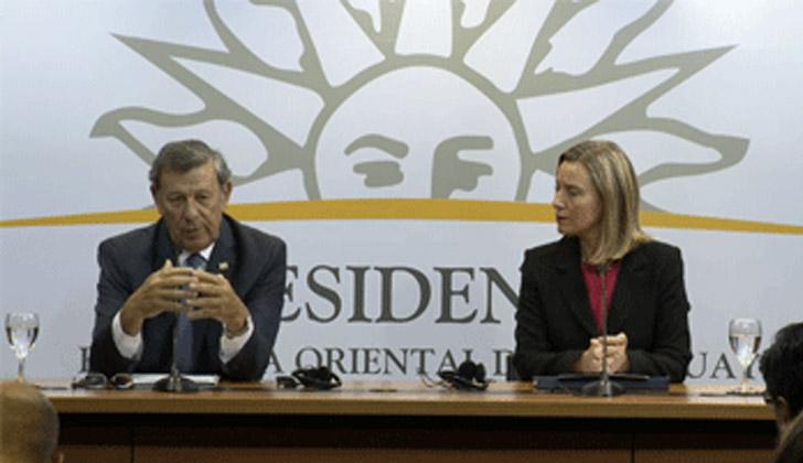 Canciller, Rodolfo Nin Novoa, y la Alta representante para Asuntos Exteriores y Política de Seguridad de la Unión Europea, Federica Mogherini.