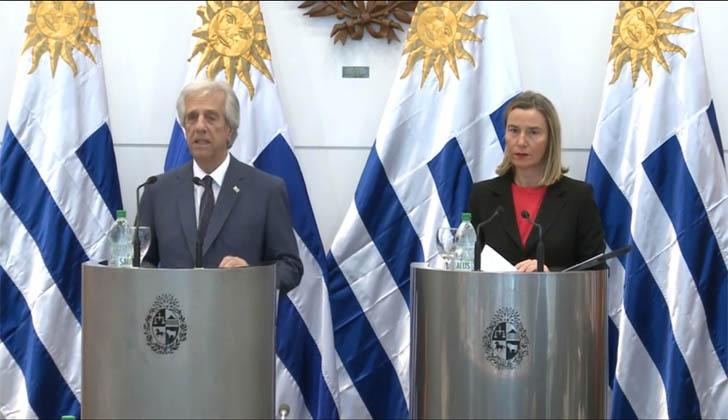Presidente de la República, Tabaré Vázquez y Alta representante para Asuntos Exteriores y Política de Seguridad de la Unión Europea, Federica Mogherini.