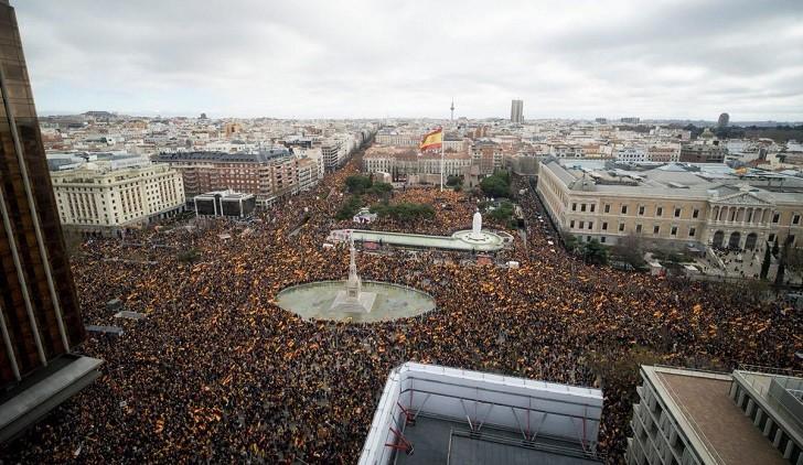 Manifestación de la derecha en Madrid contra el Gobierno de Pedro Sánchez.