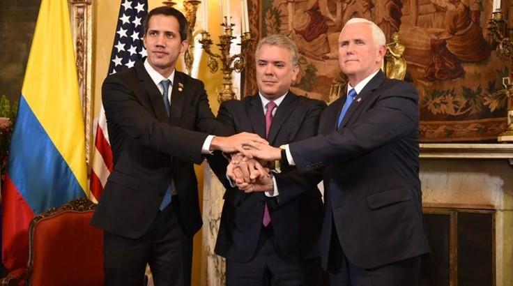 Juan Guaidó, Iván Duque y Mike Pence, en la previa de la cumbre del Grupo de Lima