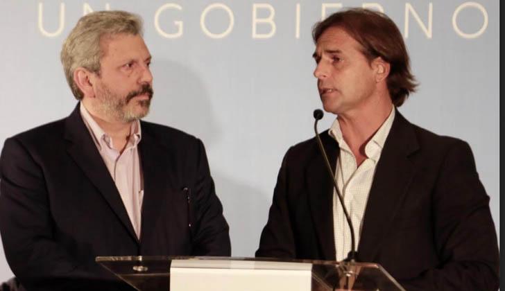 Aldo Lamorte y Luis Lacalle Pou. Foto: Gastón Britos.