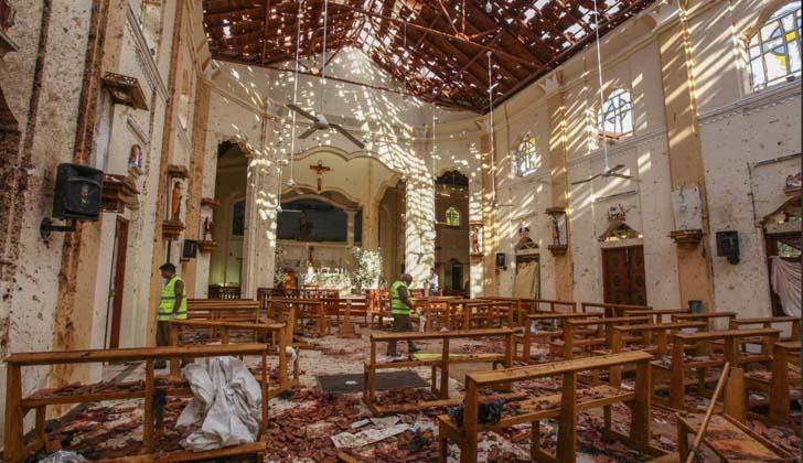 Atentado a Iglesia Católica en Sri Lanka. Foto: Twitter.