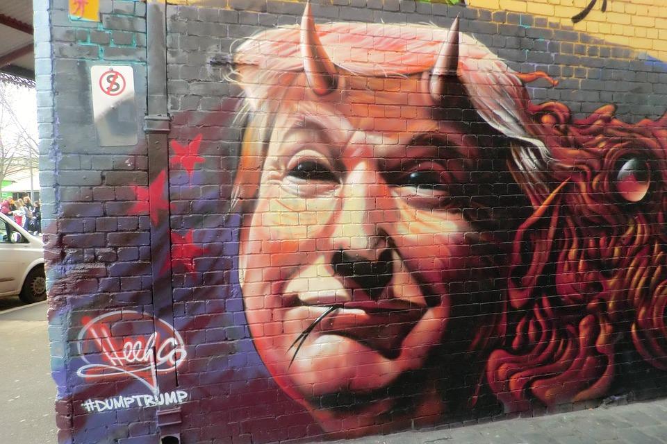 Graffiti de Donald Trump en una pared de Melbourne, Australia. Foto: Pixabay