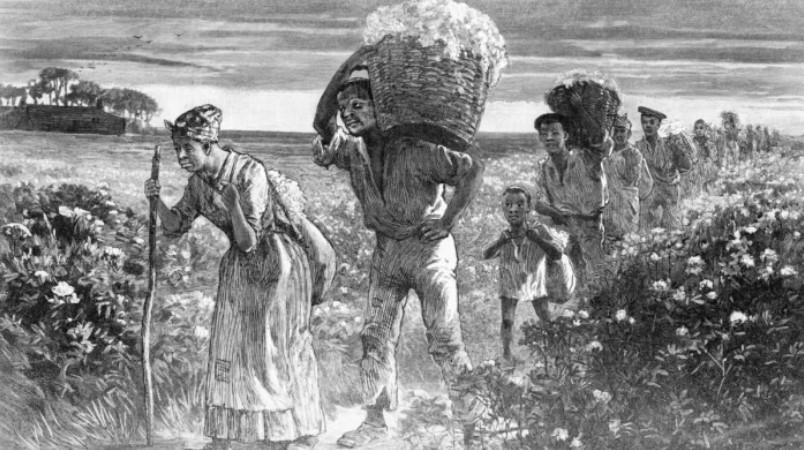 Esclavos afroamericanos vuelven de los campos de algodón con canastos llenos. Imagen: Bettmann Archives / Getty Images