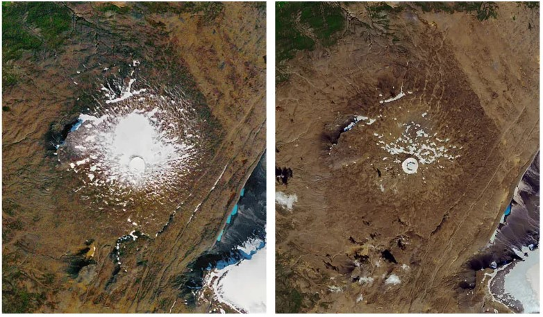 La reducción del glaciar Okjökull del 14 de septiembre de 1986 (izquierda) al 1 de agosto de 2019. Foto: NASA