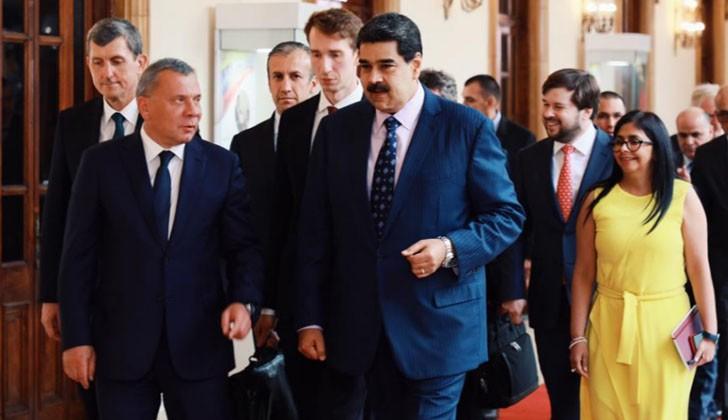 El presidente de Venezuela, Nicolás Maduro, recibió al vice primer Ministro de la Federación Rusa, Yuri Ivánovich Borisov. Foto: Twitter.