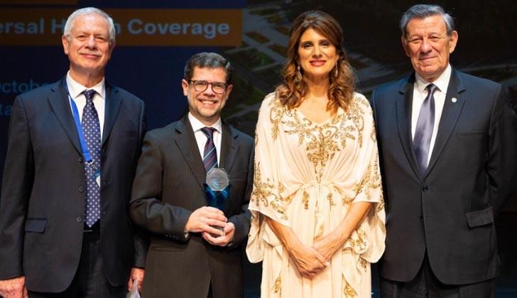 Jorge Basso, Álvaro Vázquez, princesa Dina Mired de Jordania y  Rodolfo Nin Novoa. Foto Presidencia de la República.