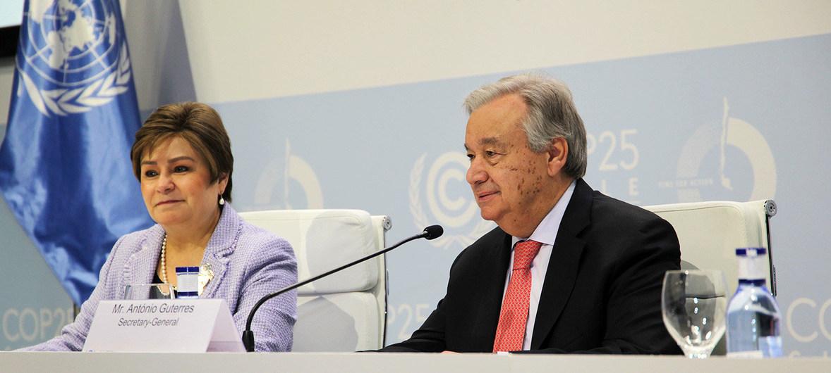 El Secretario General de la ONU, António Guterres en la inauguración de la COP25. Foto: ONU