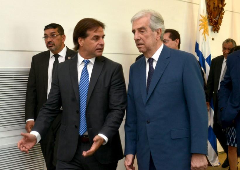 El expresidente Tabaré Vázquez junto su sucesor, Luis Lacalle Pou / Foto: Presidencia de la República