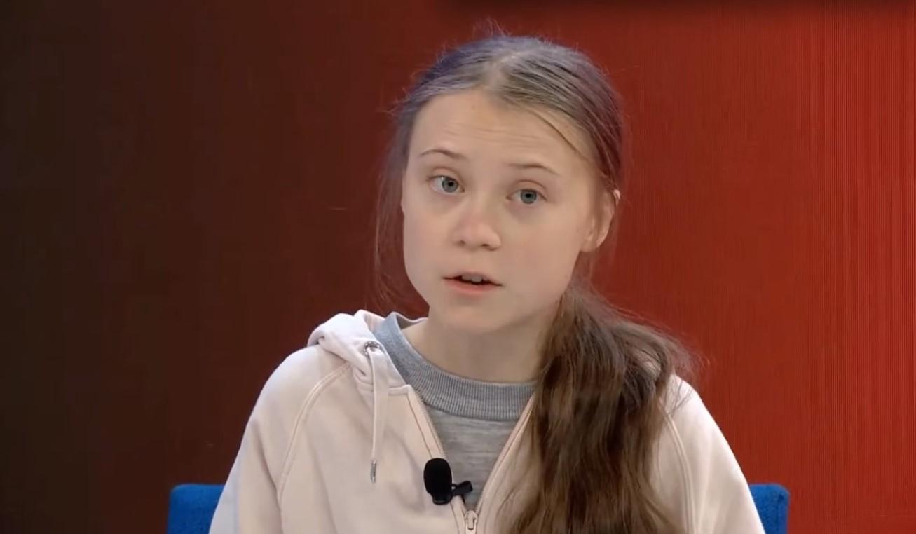 Greta Thunberg hablando en Davos. Foto: captura de pantalla
