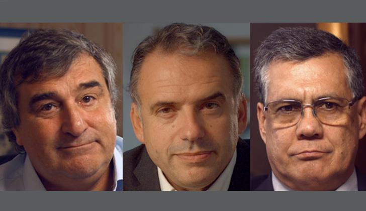Ex intendentes: Sergio Botana (Partido Nacional). Yamandú Orsi (Frente Amplio), y Marne Osorio (Partido Colorado).